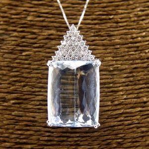 Jewelry - Aquamarine & Diamond Necklace Pendant 45.47Ct WG